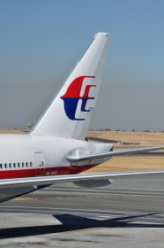 Tail section of 9M-MRO seen at O. R. Tambo International Airport in South Africa on June 28, 2011. Photo by Hansueli Krapf.