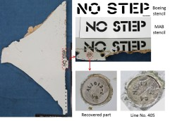 Stabiliser panel found in Mozambique showing stencil and fastener comparison. Source: ATSB & Boeing.