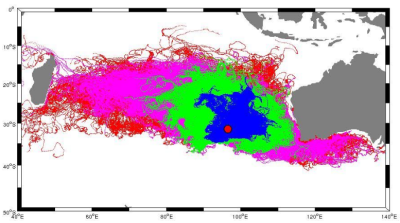Prof. Pattiaratchi's MH370 drift model shows where potential debris could end up in six months [blue], 12 months [green], 18 months [pink] and 24 months in red. Reunion Island, off Madagascar is to the far left of the map. Source: University of Western Australia