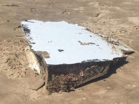 A photo of possible aircraft debris found off the coast of South Africa on December 22 by Cricketer Albie Morkel, as posted on Facebook. Source: Albie Morkel, used with permission.